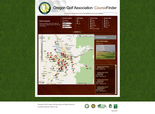Oregon Golf Association Course Finder